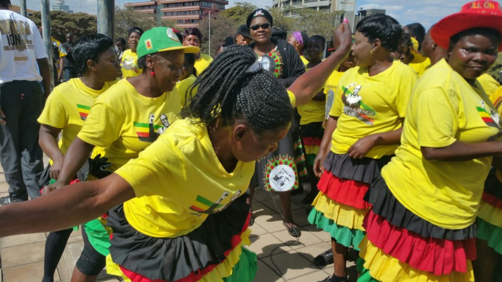 Mbare Chimurenga Choir providing entertainment to thousands of Zanu PF supporters gathered at party Headquarters