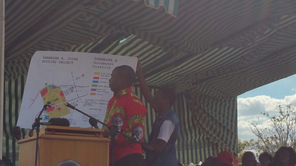 Zanu PF youths display a map for Chishawasha