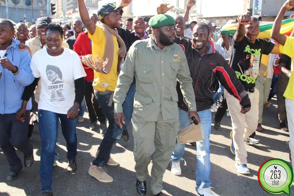 Earlier on Zanu PF marching in town
