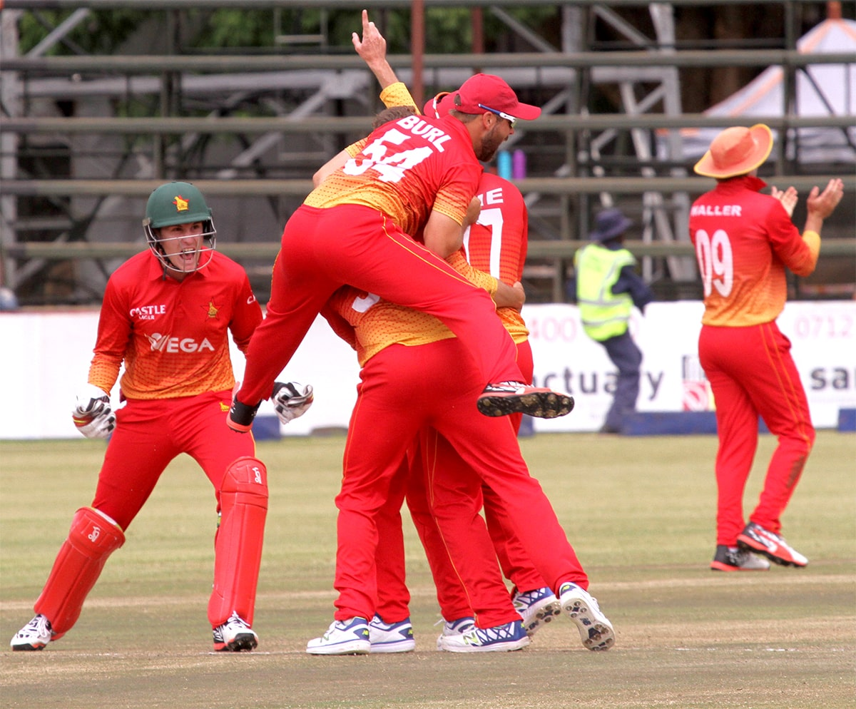 Zimbabwe players celebrate after clinching victory over Afghanistan